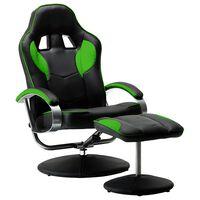 vidaXL Sportovní polohovací židle s podnožkou zelená umělá kůže