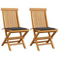 vidaXL Zahradní židle s antracitovými poduškami 2 ks masivní teak
