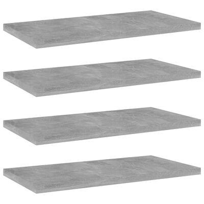 vidaXL Přídavné police 4 ks betonově šedé 40 x 20 x 1,5 cm dřevotříska