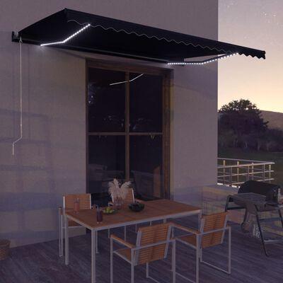 vidaXL Ručně zatahovací markýza s LED světlem 600 x 300 cm antracitová