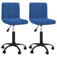 vidaXL Otočné jídelní židle 2 ks modré samet