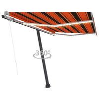 vidaXL Automatická markýza LED a senzor větru 350x250 cm oranžovohnědá