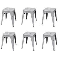 vidaXL Stohovatelné stoličky 6 ks šedé ocel