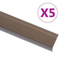 vidaXL Schodové hrany ve tvaru L 5 ks hliník 90 cm hnědé