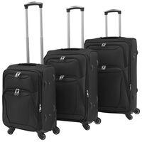vidaXL 3dílná souprava měkkých kufrů na kolečkách, černá