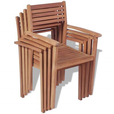 vidaXL Stohovatelné zahradní židle 4 ks masivní teak