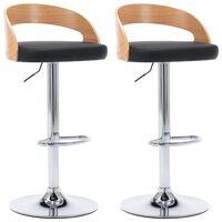 vidaXL Barové stoličky 2 ks černé umělá kůže a ohýbané dřevo