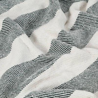 vidaXL Přehoz bavlna pruhovaný 220 x 250 cm tmavě zelený, Tmavě zelená