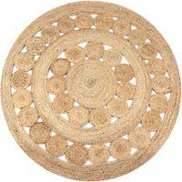 vidaXL Kusový koberec z juty se splétaným designem 150 cm kulatý