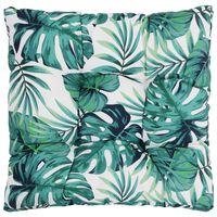 vidaXL Zahradní poduška na sedák motiv listů 50 x 50 x 10 cm textil