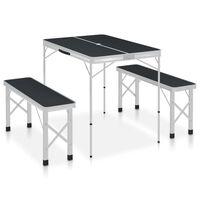 vidaXL Skládací kempingový stůl se 2 lavicemi hliník šedý
