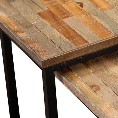 vidaXL 2dílná sada stohovatelných stolků, masivní recyklované dřevo