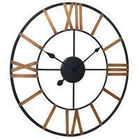 321458 vidaXL Wall Clock Gold and Black 70 cm Metal