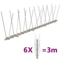 vidaXL 2řadové plastové hroty proti ptákům a holubům sada 6 ks 3 m