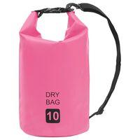 vidaXL Nepromokavý vak růžový 10 l PVC