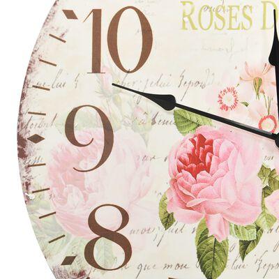 vidaXL Vintage nástěnné hodiny květina 60 cm