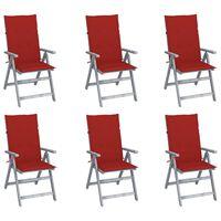vidaXL Zahradní polohovací židle s poduškami 6 ks masivní akácie