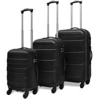 vidaXL Sada tří skořepinových kufrů na kolečkách, černá