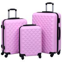 vidaXL Sada skořepinových kufrů na kolečkách 3 ks růžová ABS