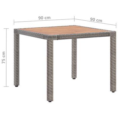 vidaXL Zahradní stůl šedý 90 x 90 x 75 cm polyratan a masivní akácie