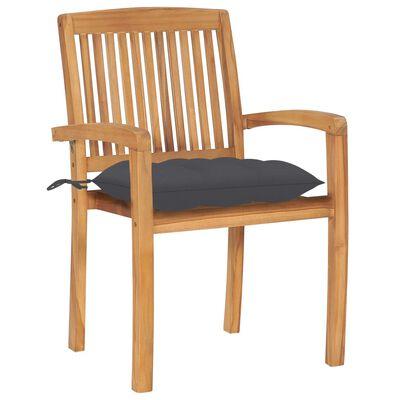 vidaXL Zahradní židle 2 ks antracitové podušky masivní teak