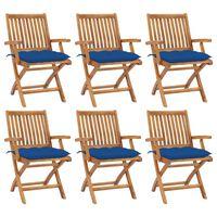 vidaXL Skládací zahradní židle s poduškami 6 ks masivní teak