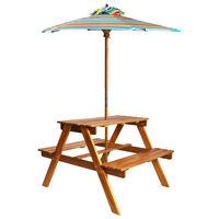 vidaXL Dětský piknikový stůl se slunečníkem 79x90x60 cm masivní akácie