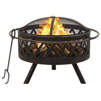 vidaXL Rustic Fire Pit with Poker 76 cm XXL Steel