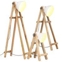 vidaXL Stojací lampy 3 ks bílé E27 masivní mangovníkové dřevo