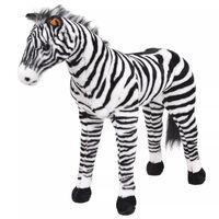 vidaXL Stojící plyšová hračka, zebra, černobílá, XXL