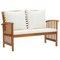 vidaXL Zahradní lavice s poduškami 119 cm masivní akáciové dřevo
