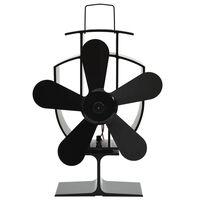 vidaXL Teplem poháněný ventilátor na kamna 5 lopatek černý