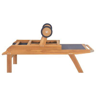 vidaXL Skládácí zahradní lehátko s kolečky masivní teak a textilen