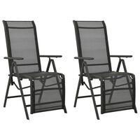 vidaXL Polohovací zahradní židle 2 ks textilen a hliník černé