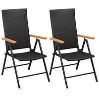 vidaXL Stohovatelné zahradní židle 2 ks polyratan černé