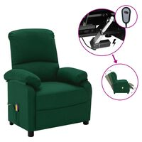 vidaXL Elektrické masážní polohovací křeslo tmavě zelené textil
