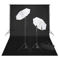 vidaXL Studiová sada černé pozadí 600 x 300 cm a světla