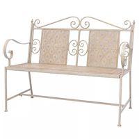 vidaXL Zahradní lavice 115 cm ocelová vintage bílá