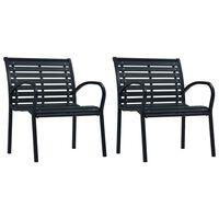 vidaXL Zahradní židle 2 ks černé ocel a WPC