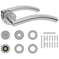 vidaXL Curved Door Handle Set with WC Lock Stainless Steel