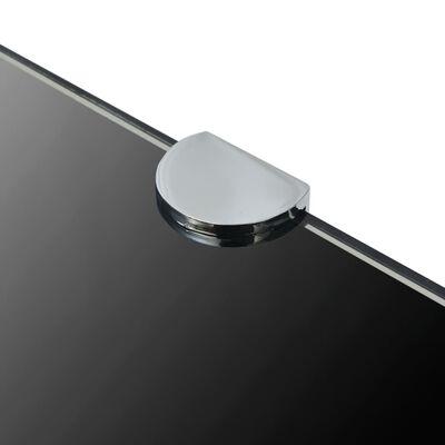 vidaXL Rohová police s chromovými podpěrami sklo černé 45x45 cm