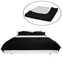 Oboustranný prošívaný přehoz na postel černobílý 230 x 260 cm