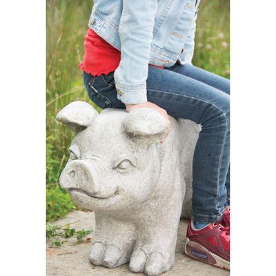 Esschert Design kamenná zahradní lavice tvar prase šedá AV13
