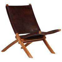 vidaXL Skládací relaxační židle hnědá pravá kůže