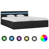 vidaXL Rám postele s úložným prostorem LED tmavě šedý textil 180x200cm