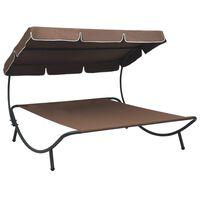 vidaXL Zahradní postel s baldachýnem hnědá
