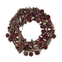 Vánoční Věnec ⌀ 50 Cm Tmavé Dřevo S Červenými Dekoracemi Filpus