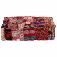 vidaXL Sedací puf patchwork čtverec ručně vyrobený 50x50x12 cm červený