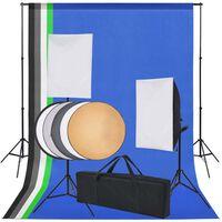 vidaXL Profesionální foto studio set: 5 barevných pozadí a 2 softboxy