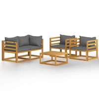vidaXL 5dílná zahradní sedací souprava s poduškami masivní akácie